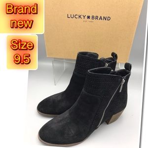 Lucky Brand Black Suede Leather Side zipper boots